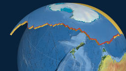 Antarctica tectonic plate. Topography Animation