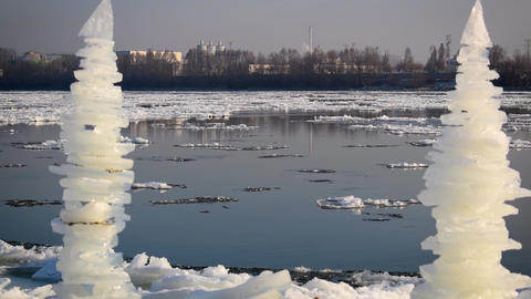 Breaking Of The Ice On The River Danube with ice sculpture Footage