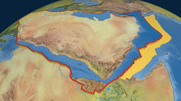 Arabia tectonic plate. Topography Animation