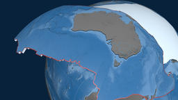 Australia tectonic plate. Elevation and bathymetry Animation