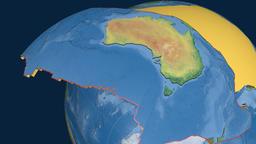 Australia tectonic plate. Natural Earth Animation