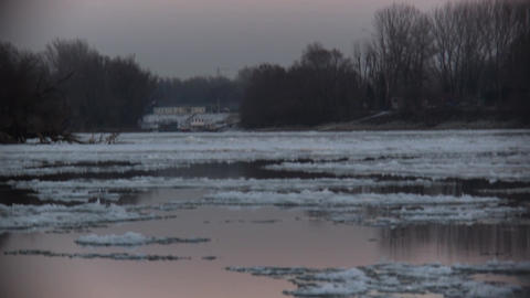 Breaking Of The Ice On The River Danube Footage