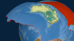 Australia tectonic plate. Relief Animation