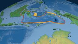 Banda Sea tectonic plate. Natural Earth Animation