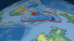 Banda Sea tectonic plate. Relief Animation