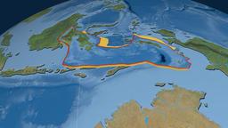 Banda Sea tectonic plate. Satellite imagery Animation