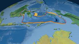 Banda Sea tectonic plate. Topography Animation