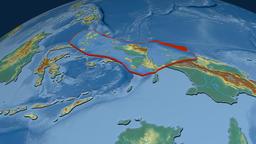 Birds Head tectonic plate. Relief Animation