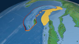 Burma tectonic plate. Natural Earth Animation