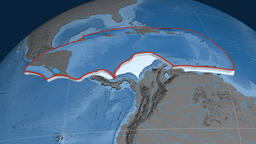 Caribbean tectonic plate. Elevation and bathymetry Animation