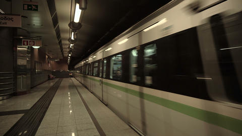 Train arrival at a metro underground subway terminal station Footage