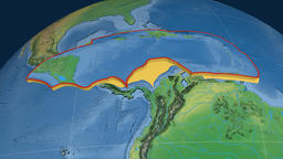 Caribbean tectonic plate. Natural Earth Animation
