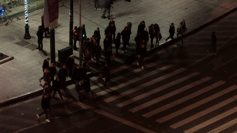 people crossing the street at night Footage