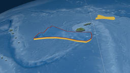Futuna tectonic plate. Satellite imagery Animation