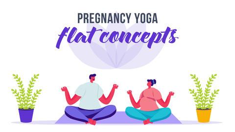 Pregnancy yoga - Flat Concept