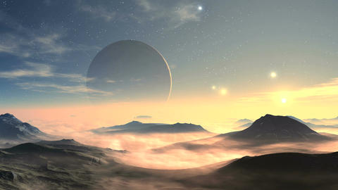 Moonrise And Sunrise On An Alien Planet Animation