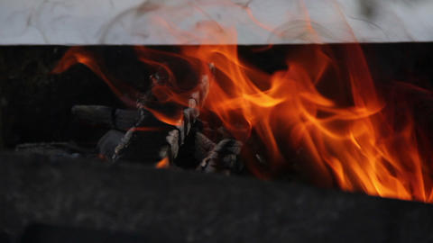 winter barbeque fire Footage