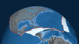 North America tectonic plate. Elevation and bathymetry Animation