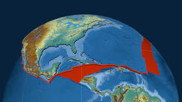 North America tectonic plate. Relief Animation