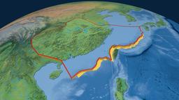 Yangtze tectonic plate. Natural Earth Animation