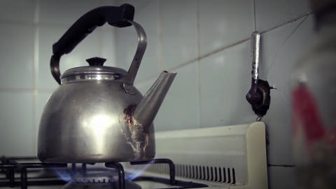 Old Kettle Boiling On Fire Footage