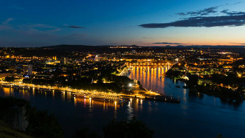 Koblenz Oldtown and Deutsches Eck At Night Time Lapse in 4K Footage