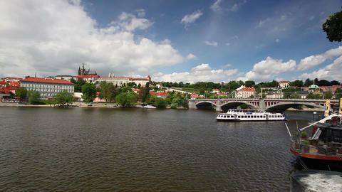 View on the spring Prague gothic Castle and Old Town Footage