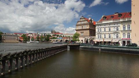 View on the Novotny footbridge next the Charles Bridge in Prague Footage