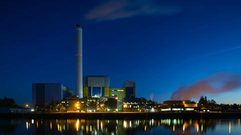 Waste Incineration Plant At Night Time Lapse in 4K Footage