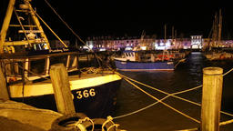 Fishing boats at night Ilfracombe Devon UK 1 Footage