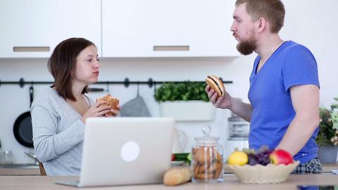 Conversation at the kitchen Footage
