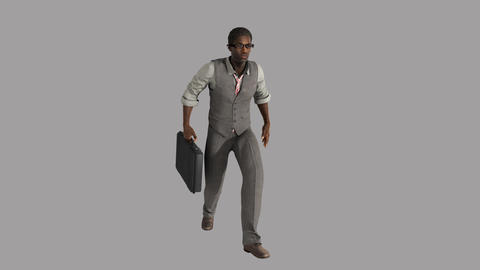 business man with glasses and a briefcase in a hurry somewhereм,loop, animation Animation