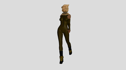 girl in a coffee sack masks walking,loop, animation, Alpha channel Animation