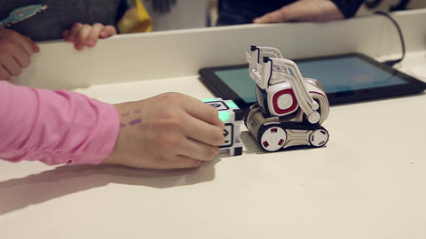 Kids playing with robot Footage