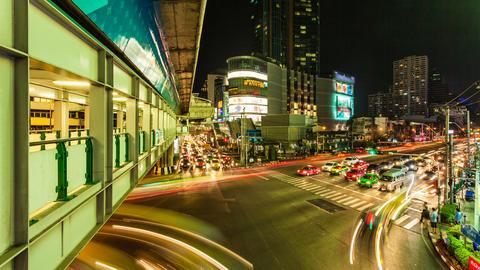 1080p - TIME LAPSE AT NIGHT - Bangkok Transportation Stock Video Footage