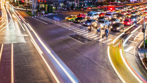 1080 - NIGHT CITY TRAFFIC Timelapse stock footage