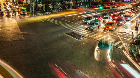 1080 - NIGHT CITY TRAFFIC Timelapse Stock Video Footage