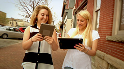 Using iPads Outside Stock Video Footage