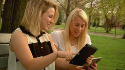 Using iPads in the Park Stock Video Footage