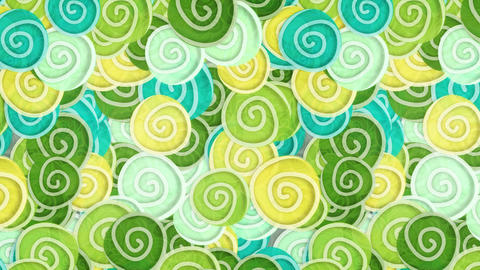 yellow green cyan curles ornatment loop 4k Stock Video Footage