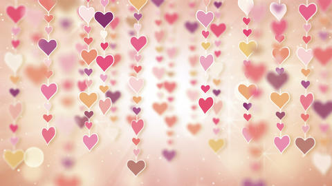 dangling pink hearts loopable background 4k Stock Video Footage