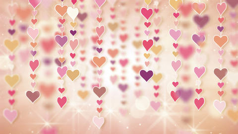 dangling pink hearts loopable background 4k Animation