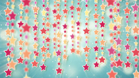 dangling colorful stars loop background 4k Stock Video Footage