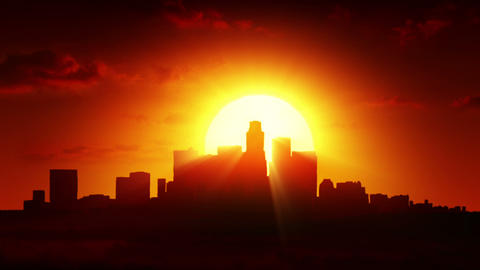 View Of The City At Sunrise stock footage