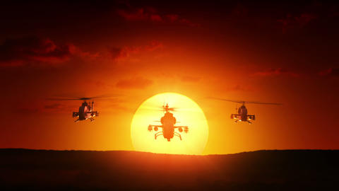 Military helicopters at sunrise Animation