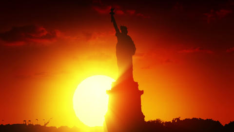 Statue of liberty at sunrise Animation
