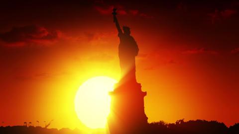 Statue of liberty at sunrise Animation