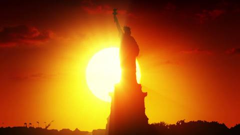 Statue of liberty at sunrise Stock Video Footage