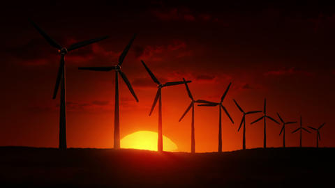Wind Turbines at sunrise Stock Video Footage