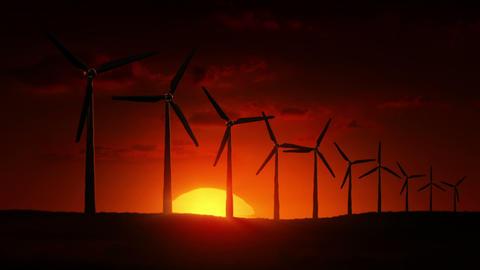 Wind Turbines at sunrise Stock Video Footage